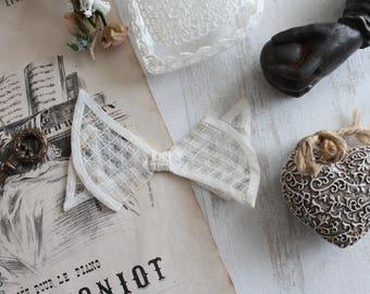 Vintage BowTie, vintage, ecru tulle checked, ecru bow, white node, wedding accessory