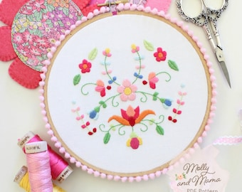 PDF Pattern 'Flora Fiesta' - Floral Hand Embroidery Design and Template, Hoop Art, Backstitch, Satin Stitch, Mexican embroidery style