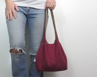 ready to ship red sweater purse. medium handbag on sale.