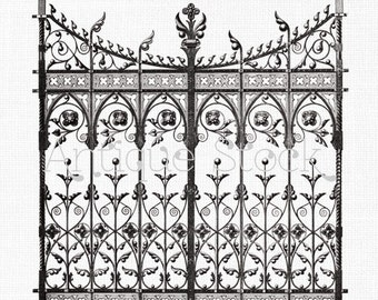 Clipart 'Wrought Iron Gate' Digital Download PNG Image for Transfers, Scrapbook, Wall Art, Collages, Paper Crafts, Cards...