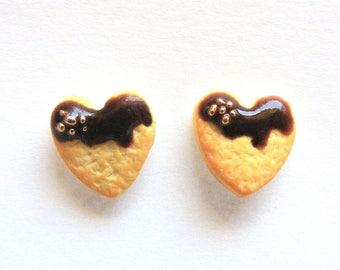 Heart Cookie Earrings Chocolate earrings cookie studs heart earrings Miniature Food Earrings, Food Jewellery,  Mini Food Food Jewelry kawaii
