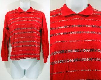Vintage 60's MUNSINGWEAR Red Long Sleeved Shirt S