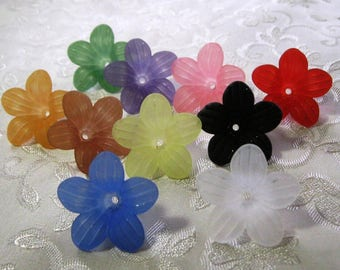 Flower Beads Frosted Mix 24mm Lucite Acrylic You Choose Colors Crafts Mobile Suncatcher 431