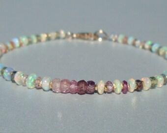 Opal Bracelet, Sapphire Bracelet, Ethiopian Opal Bracelet, Ombre Bracelet, October Birthstone, Gemstone Bracelet, Dainty Beaded Bracelet