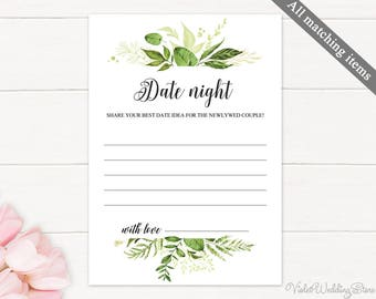 Greenery Date Night Card. Printable Date night Card. Wedding Date Night Ideas. Wedding Advice Card, Marriage Advice, Wedding Advice