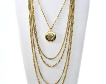 Vintage Multiple Chains Locket Necklace, Locket Pendant, Multi Chains, Gold Tone, Long Chain, Box Clasp, Boho Look, Gift Idea, Excellent