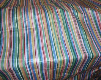 "Pastel Striped Screen Print Scotchgard Cotton Upholstery Fabric by Mill Creek 54"" Wide Sold by the yard"