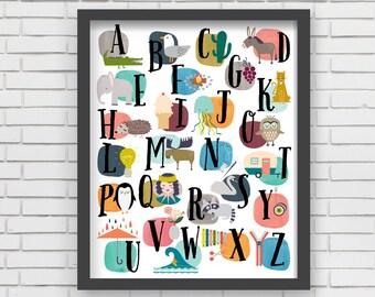 Home Decor Nursery Wall Art - Watercolor Alphabet Print - 16x20