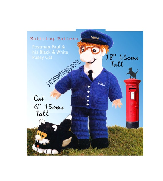 18 postman patpaul 6 cat toy doll to knit pdfle knitting 18 postman patpaul 6 cat toy doll to knit pdfle knitting ettern eok from sylviapatternswool on etsy studio dt1010fo