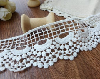 """2 Yards Scalloped Edge  White 100% Cotton Lace Trim Embroidery Hollow Out Lace Trim 1.8 """" Width"""