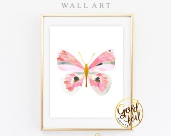 Butterfly Wall Art Nursery Decor Butterfly Art Print Butterfly Nursery Gold Foil  sc 1 st  Etsy : gold butterfly wall art - www.pureclipart.com