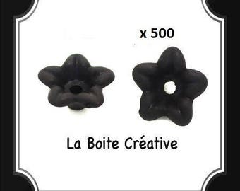 500 beads in shape of flower in acrylic black mat 10 x 4 mm