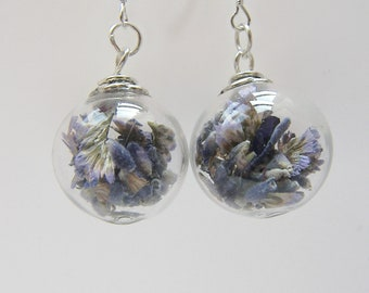 Real Lavender Earrings, Hand Blown Glass Beads, Real Flower Jewelry, Bridesmaid Gift, Holiday Gift, Gift for Her