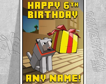PERSONALISED BIRTHDAY CARD - Wolf Present - Minecraft Themed