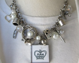 Soldered Glass Silver Charm Necklace Shabby Charmed Vintage CROWN PEARLS and CHARMS