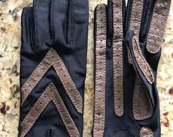 Vintage brown leather accents Gloves