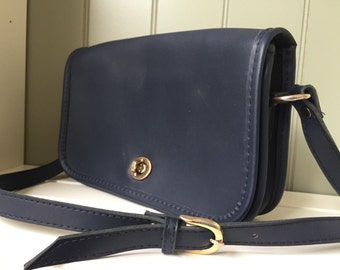 Vintage Navy Handbag Leather Navy Blue Crossbody Bag Daybag