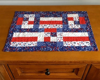 """Modern Patriotic Quilted Table Topper, 16""""x43"""", Placemat, Memorial Day, July 4, Veterans Day"""