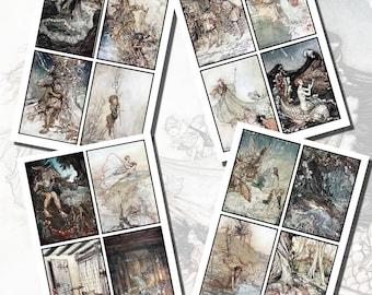 Midsummer Nights Dream Printables by Arthur Rackham, POSTCARD SIZE,  (3.5 x 5 Inch  or 12.7 x 8.8 cm), 16 Total