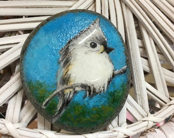 Tufted Titmouse Painted Rock