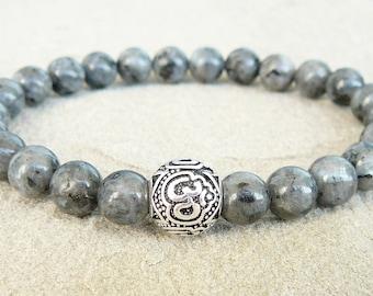 Om bracelet Beaded bracelet for men Labradorite stretch bracelet Healing bracelet Meditation Yoga Bracelet Protection Zen Bracelet for women