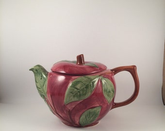Vintage  Teapot with lid...porcelain.. made in Portugal... 1970's.. apple shape.. hand-painted