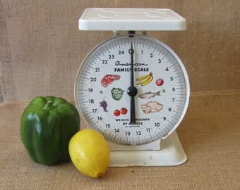 American Family White Kitchen Scale / Farmhouse or Rustic Kitchen Food Scale