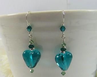 Verde Emerald Green Heart Earrings, Handmade British Artist Glass Heart Earrings, Green Lampwork Heart Earrings w 925 Silver & Swarovski