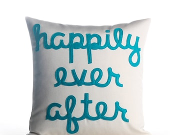 "Outdoor Pillow, Throw Pillow, Decorative Pillow. ""Happily Ever After"" pillow, 16 inch, wedding gift, pillow"
