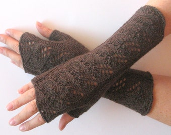 """Long Fingerless Gloves Brown 10"""" Arm Warmers Mittens Soft Wool Acrylic"""