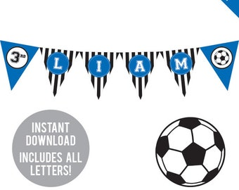 INSTANT DOWNLOAD Soccer Party (Blue) - DIY printable pennant banner - Includes all letters, plus ages 1-18