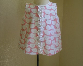 Girl's Cotton Pink Ruffled Chicks Top, Size 4