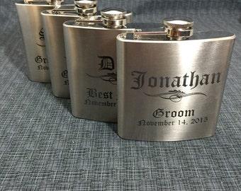 Set of 4 Laser Engraved Stainless Steel Flask - 10 Designs - 20 Fonts - Groomsman Gift - Bridesmaid Gift - Wedding Favor -  Dad or Grad Gift