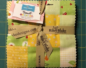 """Sweet Orchard, Pre-Cut 5"""" Stackers, 42 Pieces by Riley Blake, 100% Cotton"""