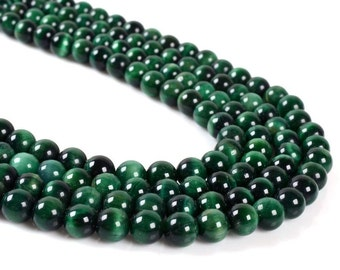 """8MM01 8mm AA Green tiger's eye round loose beads 16"""""""