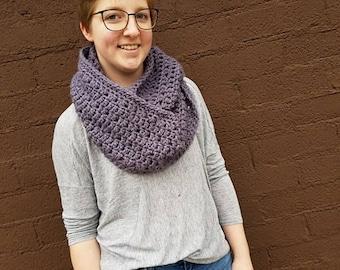 Chunky Grey/Lavender Crochet Scarf