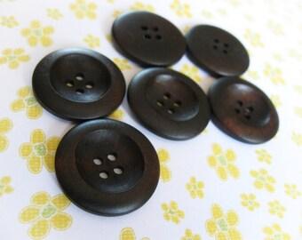 Bouton de bois marron foncé de 2.5cm - ensemble de 6 boutons en bois naturel
