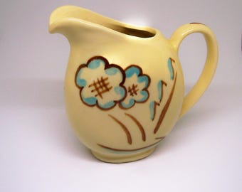 Vintage Shawnee Pottery Pitcher 1950s Beige with Brown and Blue Flowers