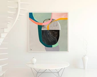 Geometric abstract minimalist fine art print, large abstract giclee print, modern wall art, office decor