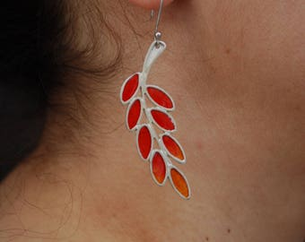 Leaves Collection: Silver and enamel olive leaves earrings