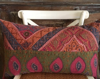 Amazingly Colorful Boho Patchwork Hand-stitched Lumbar Pillow Cover.