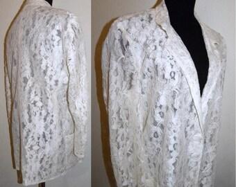 1980s 80s White LACE  Blazer / Sheer Oversized Boxy Women's Avant Garde Jacket / Vintage One Size