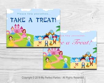 INSTANT DOWNLOAD - Princess and Pirate Children's Birthday Party Take a Treat Sign - PRINTABLE