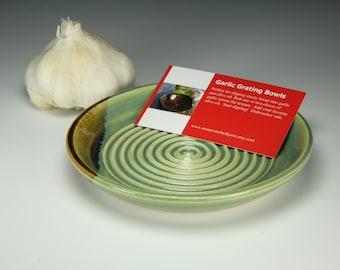 Garlic grater bowl for olive oil dipping Green glaze