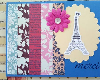 Paris Thank You Card * Eiffel Tower Thank You Card * Embellished Thank You Note