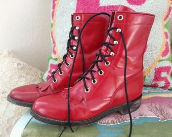 Vintage Red Justin Diamond J Red Western Lace Up Cowboy Boots 5.5 B