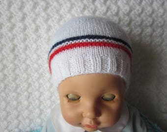 Baby blue white red knitted Handmade wool baby Hat