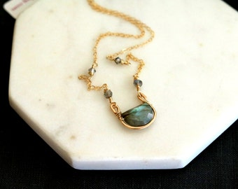 As seen on The Vampire Diaries S8 E804 Seline Flash Labradorite Necklace Vitrine Designs Rockpool Necklace