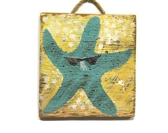 OOAK Starfish Original Art Beach Decor Handmade on Reclaimed Wood Beach Home Goods Coastal Home Goods Art Starfish Wall Art Mangoseed