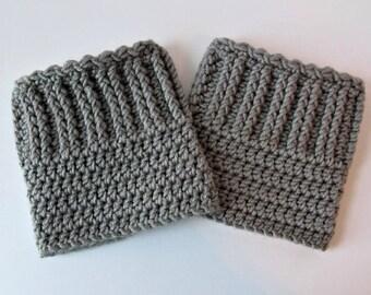 Gray Crochet Boot Cuffs, Womens Crochet Boot Cuffs, Teen Boot Cuffs, Ribbed Boot Cuffs, Boot Toppers, Gray Boot Cuffs, Crochet Boot Socks